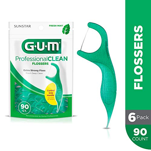 GUM Professional Clean Flossers, Fresh Mint, 90 Count (Pack of 6)