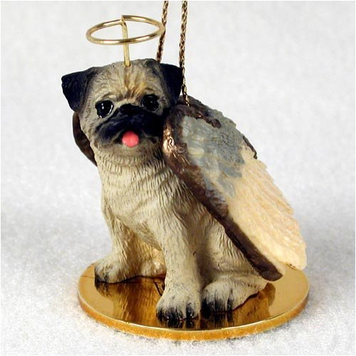 Pug Christmas Ornament - Pug Angel Dog Ornament - Fawn by Conversation Concepts