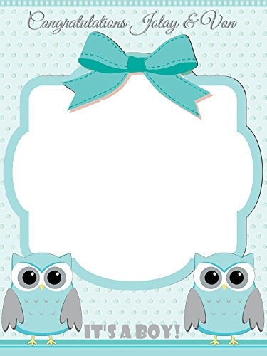 Custom Home Decor Owl Baby Shower Photo Booth Prop - Sizes 36x24, 48x36; Personalized Social Media Style owl Baby Shower Photo Booth Frame, animal baby shower, baby boy; Handmade Nursery - Wall Booth Style