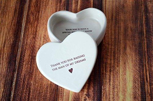 SHIPS FAST - Mother of the Groom Gift - Heart Box - Thank You for Raising the Man of My Dreams - Keepsake Box]()