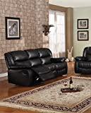 Brooklyn Black Upholstered Bonded Leather 83'' Motion Living Room Sofa