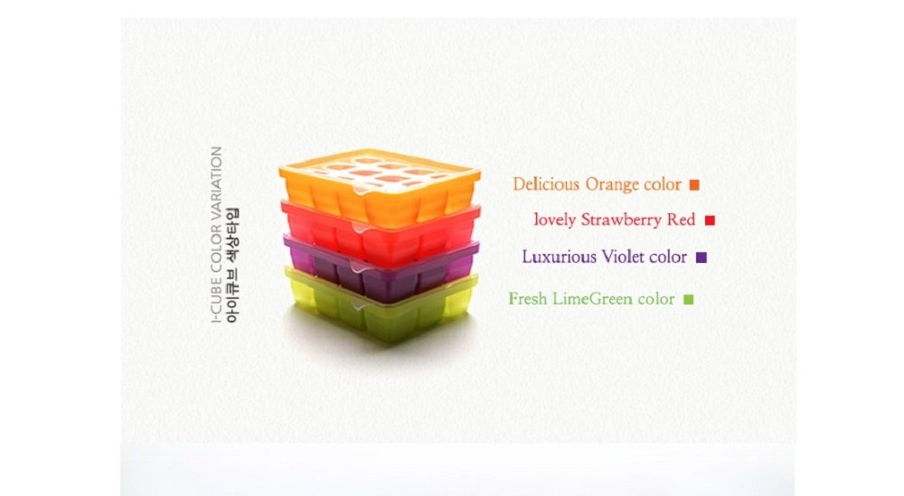 Silicone Ice Mold I-Cube Multi Cube Baby Food Starage Container (Orange+Red+Viloet+Green) by Bibito (Image #1)