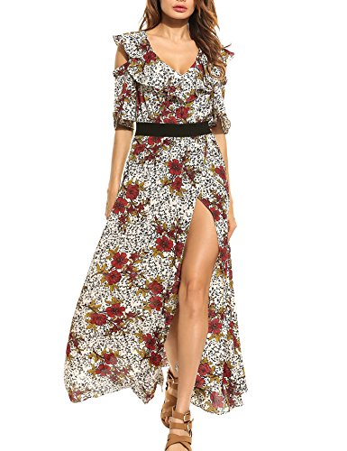 White Cotton Bold Floral Skirt - 5