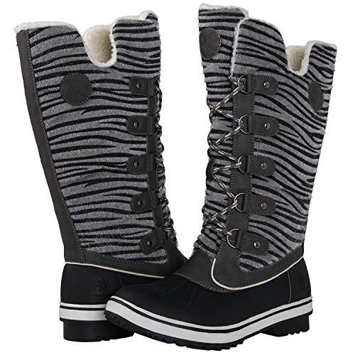 Globalwin Women's Grey Zebra Stripe Winter Snow Boots 8M US (Zebra Print Boots)