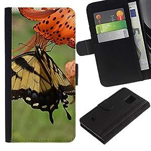 Be Good Phone Accessory // Caso del tirón Billetera de Cuero Titular de la tarjeta Carcasa Funda de Protección para Samsung Galaxy S5 Mini, SM-G800, NOT S5 REGULAR! // Butterfly Spring Floral Green Meadow Nature