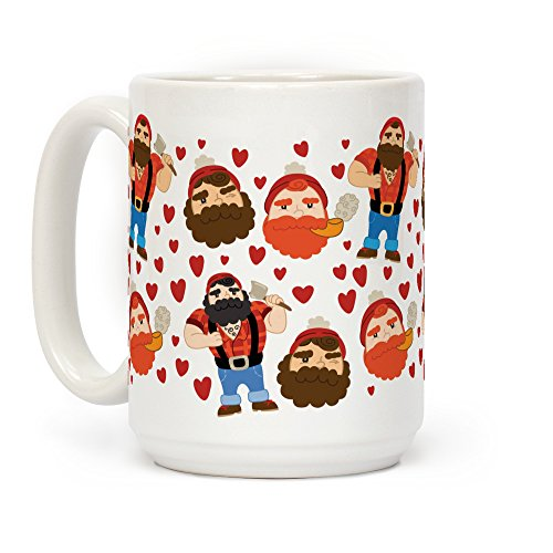 LookHUMAN Lumberjack Love White 15 Ounce Ceramic Coffee Mug -
