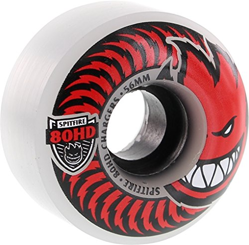 (Spitfire Wheels 80HD Charger Classic Clear / Red Skateboard Wheels - 56mm 80a (Set of)