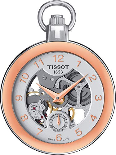 Tissot Pocket Mechanical Skeleton Rose Gold Bezel Watch with Chain T8534052941201 ()