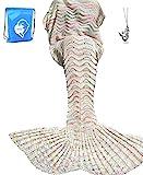 LAGHCAT Mermaid Tail Blanket Knit Crochet Mermaid Blanket for Adult, Oversized Sleeping Blanket, Wave Pattern (75 x 35.5 Inch, Beige)