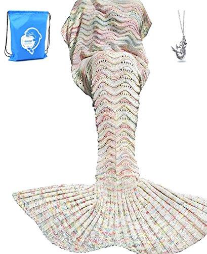 LAGHCAT Mermaid Tail Blanket Knit Crochet Mermaid Blanket for Adult, Oversized Sleeping Blanket, Wave Pattern (75x35.5,Beige)