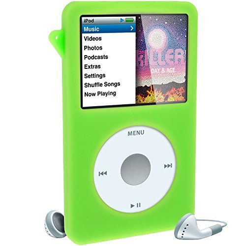 (iGadgitz Green Silicone Skin Case Cover for Apple iPod Classic 80GB, 120GB & Latest 6th Generation 160gb launched Sept 09 + Screen Protector & Lanyard)