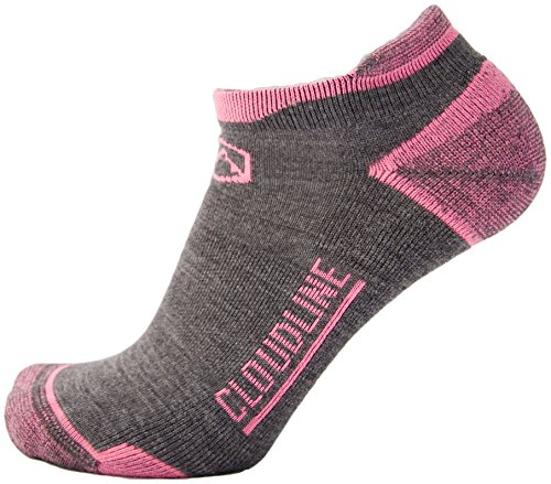 CloudLine Merino Wool No Show Athletic Tab Ankle Running Socks - Ultra Light - Medium Wildflower Pink - for Men & Women