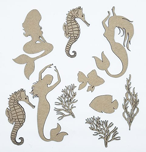 Mermaid Under The Sea Chipboard Scrapbook Laser Cut Embellishments