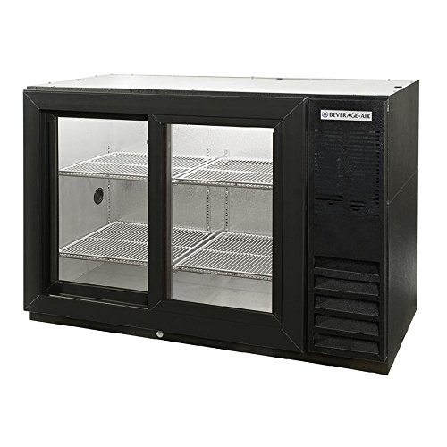 Beverage Air BB48GSY-1-B-PT Standard Depth Glass Sliding Door Pass-Thru Back Bar Cooler in Black