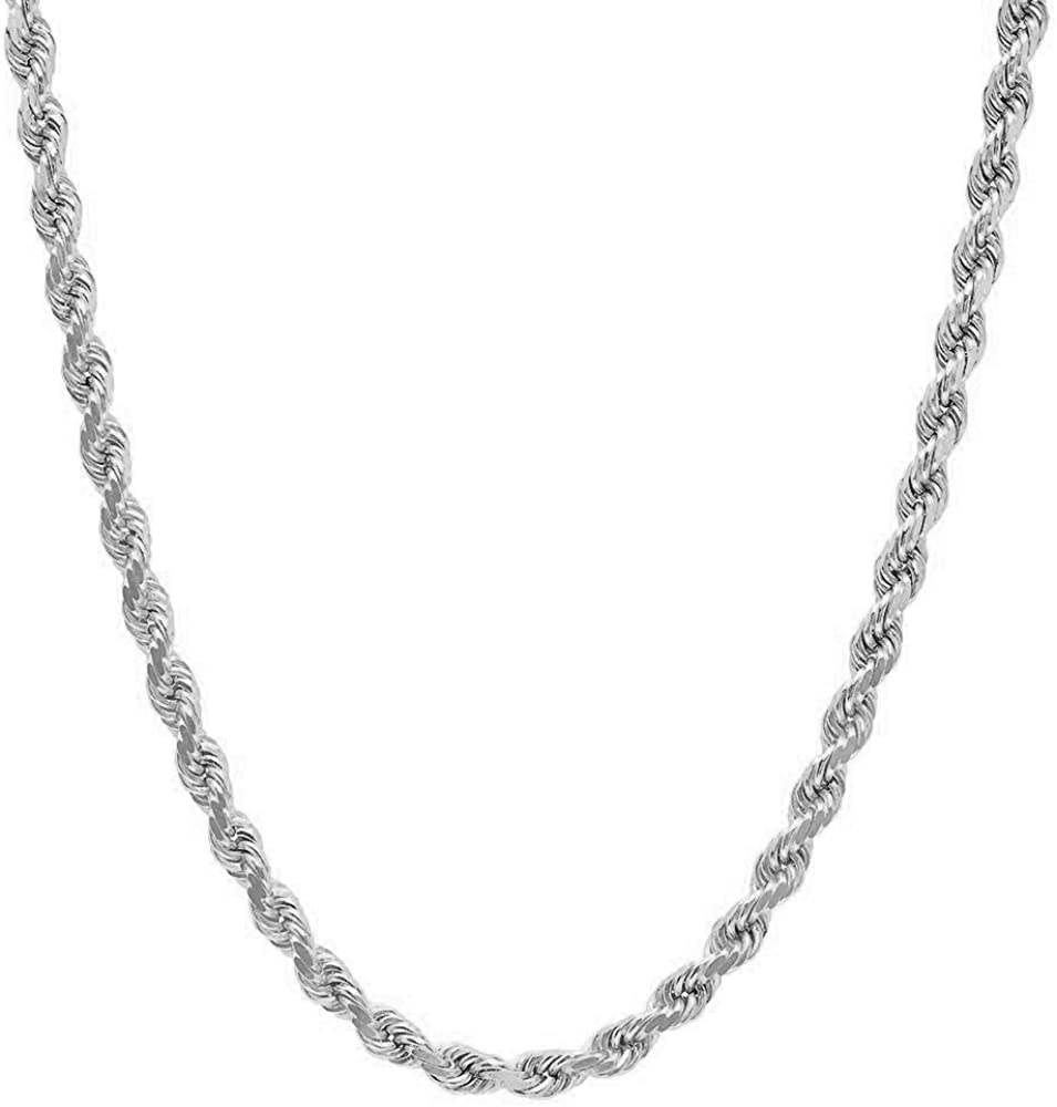 NYC Sterling Unisex Sterling Silver 3.5MM Diamond-Cut Rope Chain Necklace