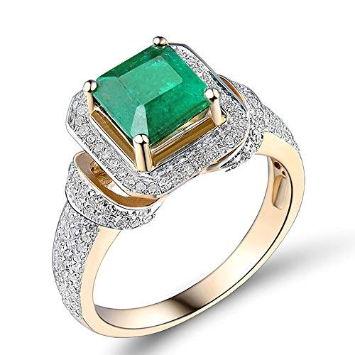 (Beyond jewelry Real Diamond Emerald 14K Yellow Gold Engagement Princess Women's Wedding Ring)