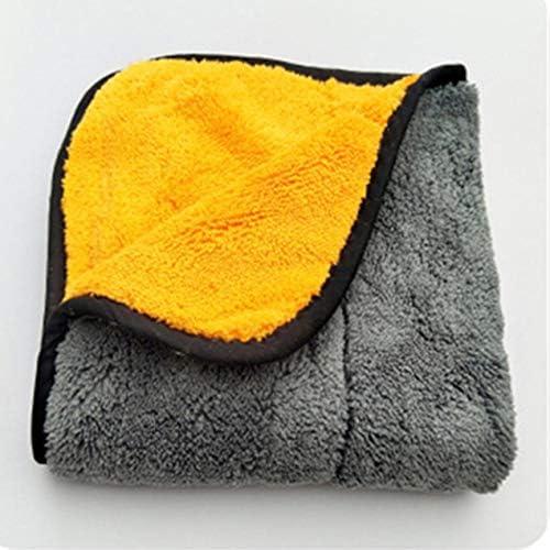 肥厚両面コーラルベルベット高吸収性カーウォッシュタオル洗車布カーケアクロス洗車タオル-オレンジ&ライトグレー