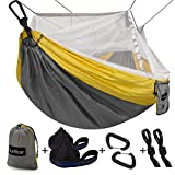 Automotive : Single & Double Camping Hammock with Mosquito/Bug Net, 14ft Hammock Tree Straps & Carabiners | Easy Assembly | Portable Parachute Nylon Hammock for Camping, Backpacking, Survival, Travel & More