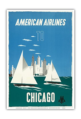 Chicago, Illinois USA - The Windy City, Sailboats, Lake Michigan - American Airlines - Vintage Airline Travel Poster by Edward McKnight-Kauffer c.1948 - Master Art Print - 13in x 19in ()