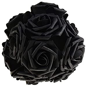 Honmofun Artificial Flowers Black Roses Funeral Flowers Black Rose Bouquet Floral Wedding Flowers Bouquet Candy Bouquet Balloon Bouquets Cookie Bouquets Calla Lily Roses 102