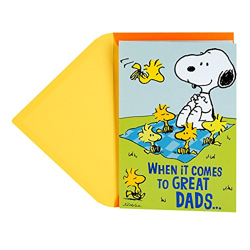 Hallmark Father's Day Greeting Card for Dad From Kids (Peanuts Snoopy and Woodstock Picnic Pop Up) - Peanuts Pals