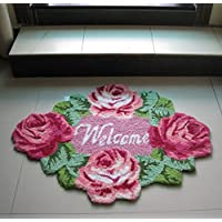 TideTex Fashion Rural Style Rose Flower Pattern Bedroom Rug Cozy Bedside Rugs 4 Flower Pretty Flower Pink Handmade Livingroom Small Rugs Door Mats Foot Mats Decoration Floor Area Rug (D)