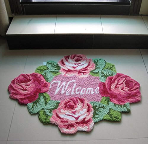 TideTex Fashion Rural Style Rose Flower Pattern Bedroom Rug Cozy Bedside Rugs 4 Flower Pretty Flower Pink Handmade Livingroom Small Rugs Door Mats Foot Mats Decoration Floor Area Rug (D) ()