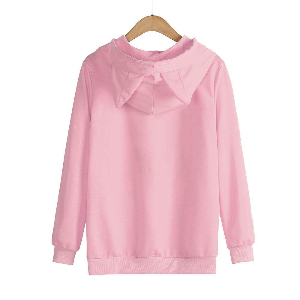 LEXUPA Womens Cat Ear Solid Long Sleeve Hoodie Sweatshirt Hooded Pullover Tops Blouse