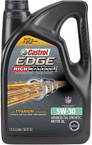 Castrol 03128C EDGE High Mileage 5W-30 Advanced Full Synthetic Motor Oil, 5 ()