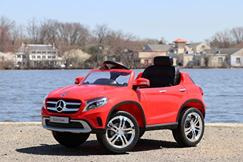 - First Drive Mercedes Benz GLA Red 12v Kids Cars - Dual Motor Electric Power Ride On Car with Remote, MP3, Aux Cord, Led Headlights, and Premium Wheels