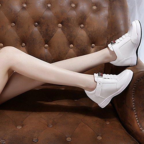 Espadrilles De Plate-forme De Tennis De Taille Augmentée De Giy Womens - Chaussures De Bootie De Talon Caché Haut Talon De Sport Blanc