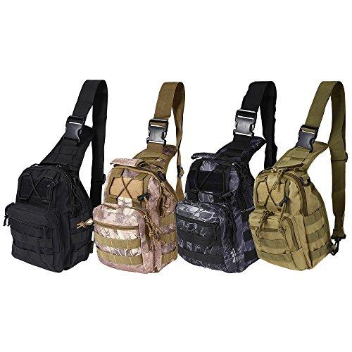 Tactical Shoulder Bag Rover Sling Daypack, 600D Breathable Heavy-Duty Outdoor EDC Molle Messenger Backpack Chest Pack with Adjustable Shoulder Strap for Hiking Trekking (Black Python) (Black Messenger Python Bag)