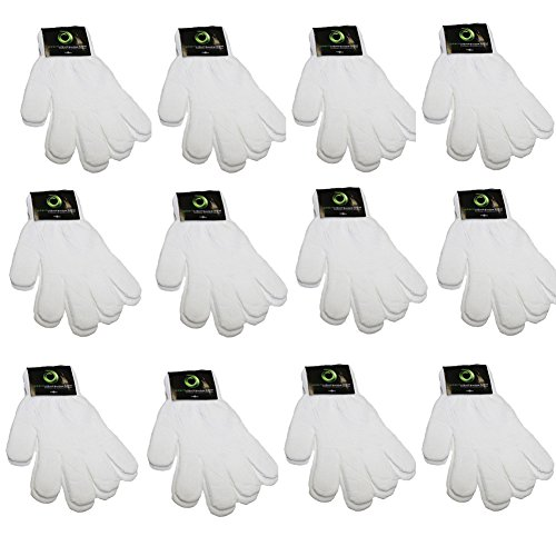 Children Warm Magic Gloves Toddler Winter Gloves Baby Girls Knit Gloves 12 Pack (2 to 6 years old) (Cream White) ()