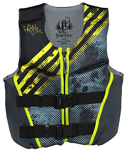 Full Throttle Hinged Flexback Neoprene Life Jacket, Green, ()