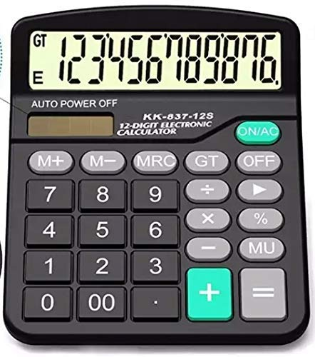 Calculator, Electronic Desktop Calculator with 12 Digit Large Display, Battery or Solar Power, Office Calculator.