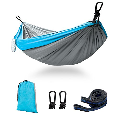 Kimfly Double Camping Hammock, Outdoor Portable Hammock 2 Adjustable Hanging Straps, Lightweight Parachute Nylon Hammock Backpacking, Hiking, Beach, Yard, Traveling