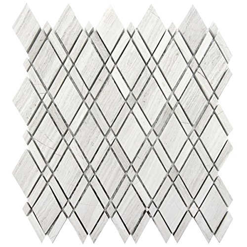 Wallandtile White Oak Lattice Marble Mosaic Tile