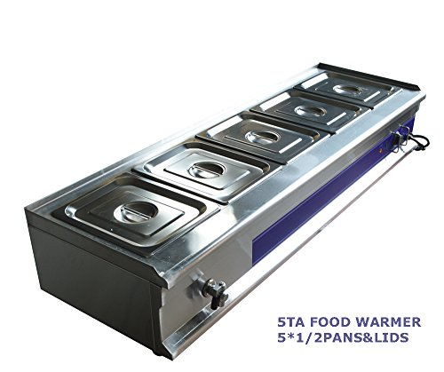 5-Pan Bain-Marie Buffet Food Warmer Restaurant Kitchen Equipment with Pans&Lids by Food Service