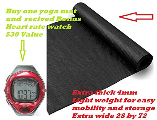 4mm Extra Thick Light Weight Portable Comfortable Spacious Textured Yoga Mat Extra Wide 28×72 Inches Buy One Yoga Mat and Receive a Bonus Heart Rate Watch $30 Value For Sale