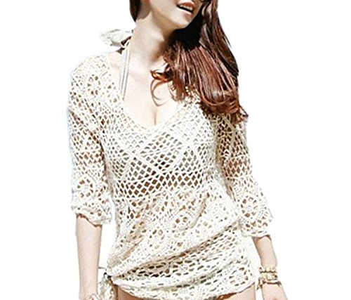 Stylish Crocheted Cotton Beach Swimsuit Cover-up Dress w/ Sleeves White