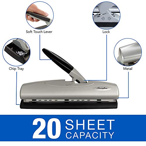 Swingline 3 Hole Punch, High Capacity Desktop Hole Puncher, 20 Sheet Punch Capacity, 2 - 7 Holes, LightTouch, Black/Silver (A7074030)