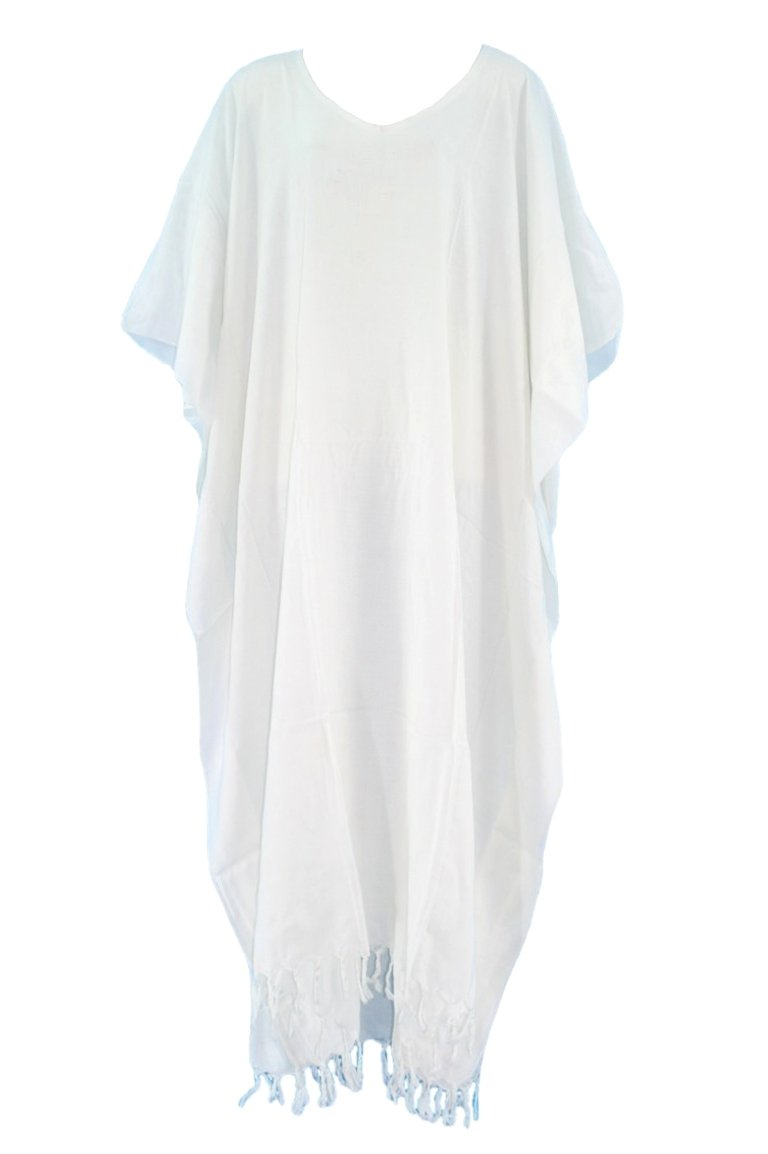 Beautybatik White Caftan Kaftan Loungewear Maxi Long Dress 4X