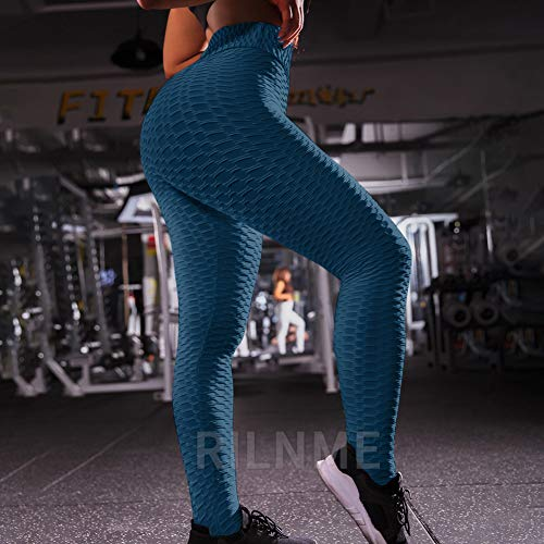 RILNME Anti-Cellulite Butt Lift Leggings High Waisted Scrunch Booty Yoga Pants Textured Ruched Tights for Women
