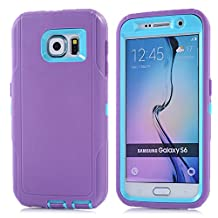 MOONCASE Galaxy S6 Case, 3 Layers Heavy Duty Defender Hybrid Soft TPU +PC Bumper Triple Shockproof Drop Resistance Protective Case Cover for Samsung Galaxy S6 -Purple Blue