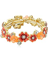 Women's Coral and Gold-Tone Flower Stretch Bracelet