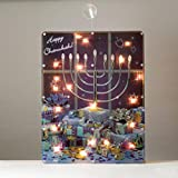"17.5"" Lighted ""Happy Chanukah"" Hologram Window Decoration with Menorah"