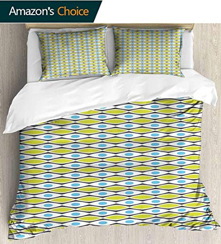 Geometric Bedding Sets Duvet Cover Set,Modern Abstract Pattern with Horizontal Oval Shapes Vivid Polka Dots Illustration Bedspreads Beach Theme Quilt Cover Children Comforter Cover 87