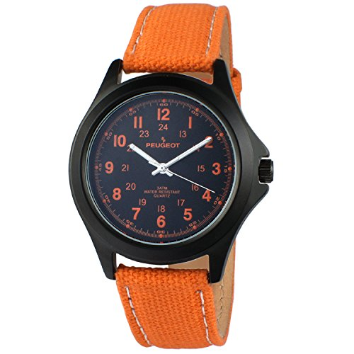 (Peugeot Women's Aviator Orange Analog-Quartz Watch with Canvas Strap, 20 (Model: 2055OR))