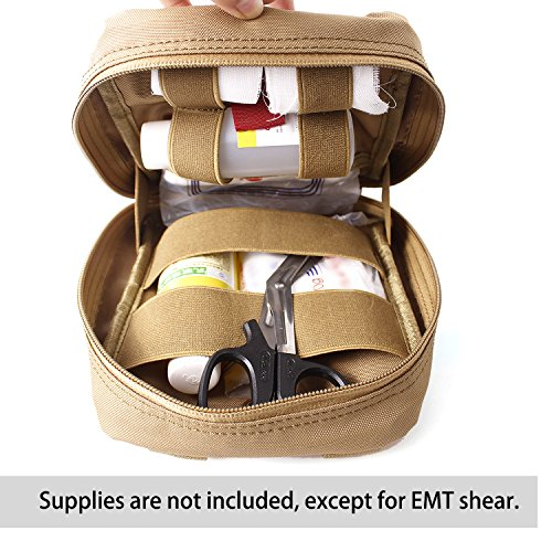 Compact Tactical MOLLE EMT Medical First Aid Utility Pouch Bag (TAN)