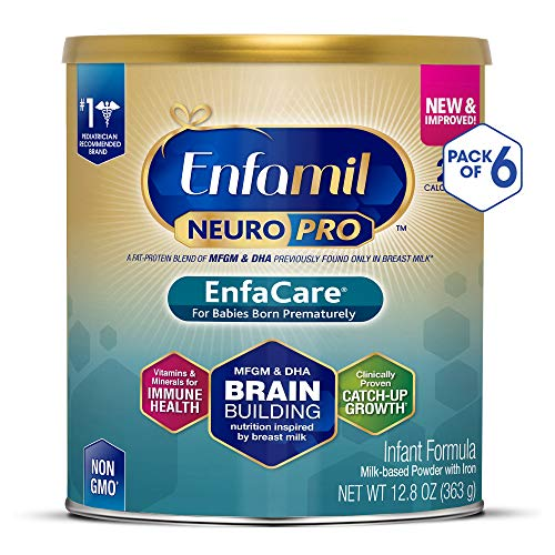 Enfamil NeuroPro EnfaCare Premature Newborn Baby Formula Milk Powder, 12.8 Ounce (Pack of 6) - MFGM, Omega 3 DHA, Probiotics, Iron, Immune Support